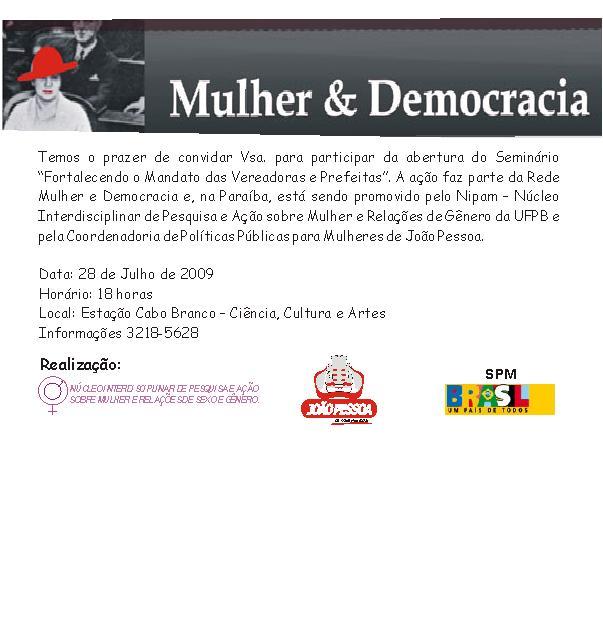 Convite Mulher e Democracia (abertura)