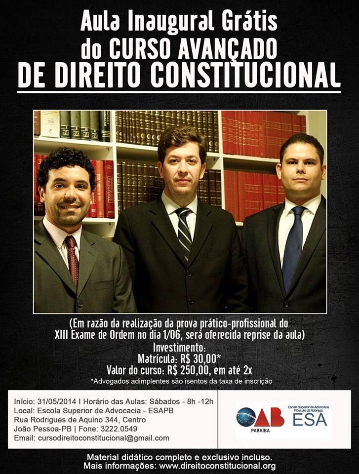 Curso de Direito Constitucional inicia sábado na ESA-PB